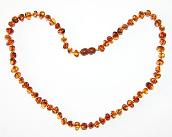 Adult Baltic amber necklace cognac color rounded beads 100