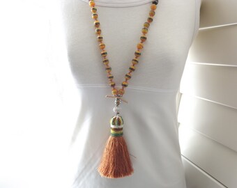 Tassel necklace long knotted necklace long boho necklace fall colors necklace long tassel necklace rustic necklace tribal necklace chestnut
