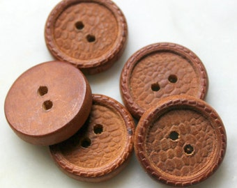vintage wood buttons 2 holes 1940s sewing notions. textured wood buttons ribbed  braided edge excellent condition