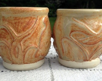 2 Handthrown Mugs / Stoneware Coffee Mugs /  Dragonfly & Frog Design /  Sand Color Glaze / Art Pottery Mugs / Gift For Couple / Hostess Gift