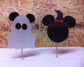 Mickey and Minnie Halloween cupcake toppers