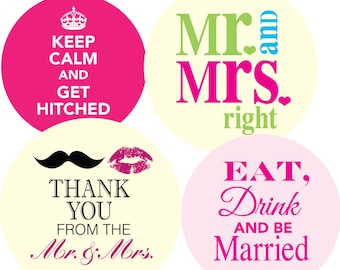 Wedding Day New Colours - 1 inch circle/25mm Bottle Cap Images - Digital Collage Sheet - INSTANT DOWNLOAD