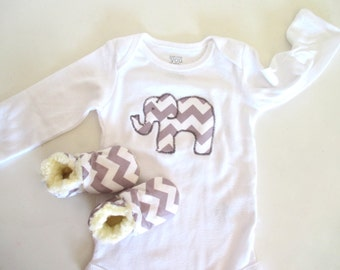 Baby shower gift set etsy baby grey chevron elephant baby shower gift set negle Images