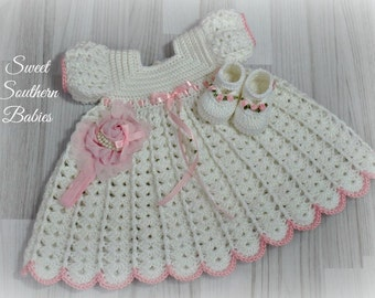 Baby Girl's White Dress with Shoes and Headband - Baptism, Christening, Blessing, Baby Shower Gift