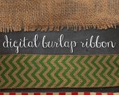 3 digital burlap ribbons with transparent backgrounds