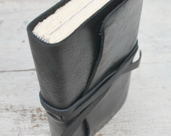 Black Leather Journal Bound Travel Diary Custom Made to Order  (288C)