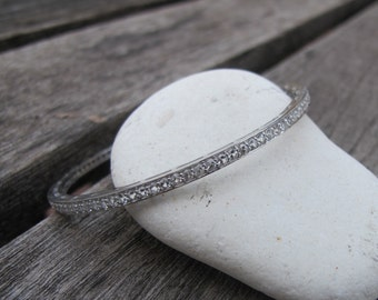 White Topaz Bangle- White Gemstone Bangle Bracelet- April Birthstone Bangle- Sterling Silver Bracelet- Unique Evening Bangle Bracelet