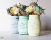 Dorm Decor Home Office Desk Pencil Holder Painted Mason Jar Vase Grey Mint Yellow