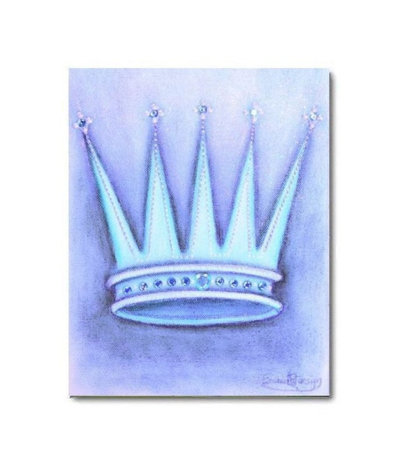 Baby Crown Wall Decor : Princess blue crown nursery art baby girl by