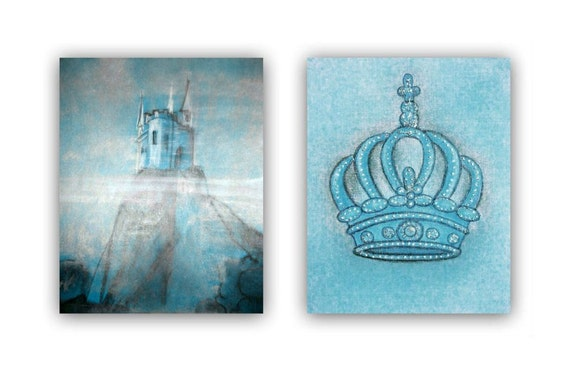 Baby Crown Wall Decor : Baby boy nursery castle wall art crown little by handpainting