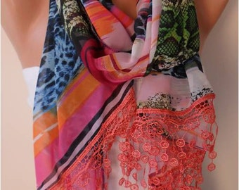 Multicolor Chiffon Scarf with Lace Edge