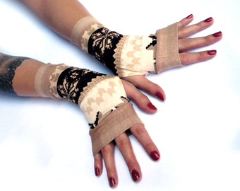Winter Gloves Arm Warmers Fingerless Gloves - Christmas, Arm Warmers , Snowflakes Arm warmers Brown and White
