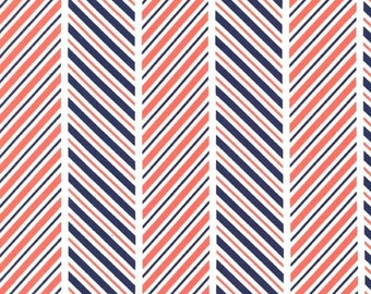 The Littles: Which Way Stripe Coral - 1 Yard Cut