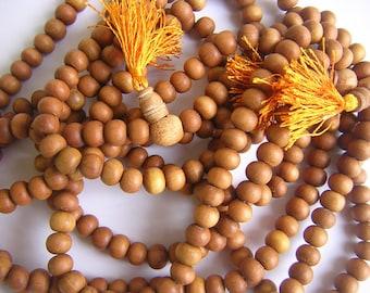 "7mm Sandalwood Beads - 24"" Strand Natural Sandalwood Beads - 108 Beads Prayer Mala"