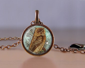 Jewelry - Lucky Penny Necklace Art - Horned Owl - Choose Chain Length - 1 Cent Jewelry - Charm - Pendant - Penny Jewelry
