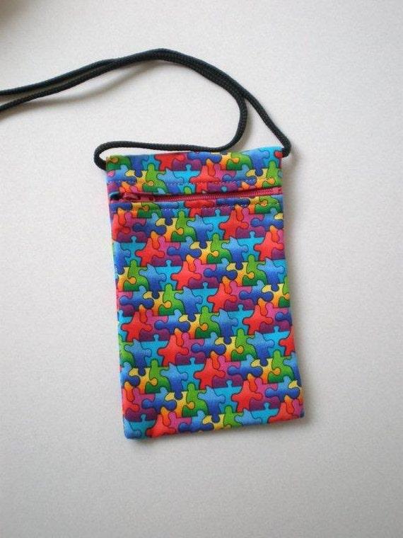 Pouch Zip Bag Puzzle Fabric.  Great for walkers markets travel.  Cell Phone Pouch. Multiple uses. Small fabric Purse.