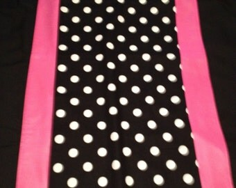 """14"""" X 72"""" Runner Black with White Polka Dot and Pink Trim"""