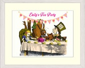 Alice in Wonderland Personalised Mad Hatter's Tea Party Print 8x10 inches Nursery/Children's Print