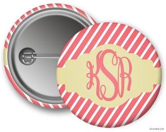 Monogram // Diagonal Stripes // Customized Pin Back Button