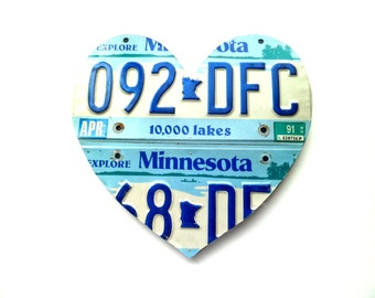 Minnesota Heart - License Plate Sign - Blue Minnesota Art - Minnesota Love Sign,Rustic Wedding Decor,MN License Plate,Summer Cabin Decor