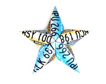 North Dakota Star,License Plate Star,Colorful Star Decor,Metal Barn Star,3 Dimensional Star,3d Star Home Decor,ND Mancave Decor,Bar Decor