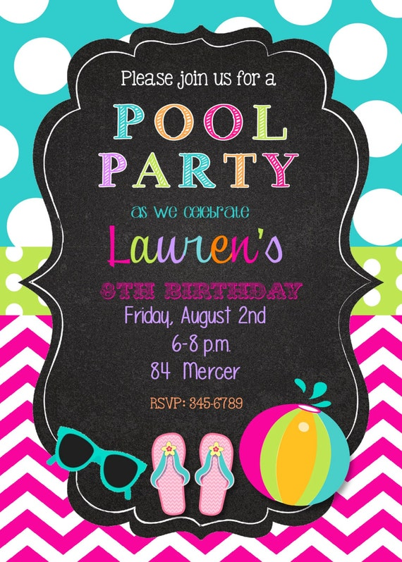 12 pool party birthday party invitations with envelopes Swimming pool birthday party invitations