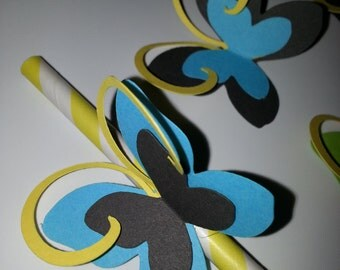 Butterfly Vintage Paper Drinking Straws 24ct.