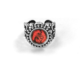 Red Mens Gothic Ring, Silver with Red and Black Center, Adjustable, Filigree Wrap, Medieval Jewelry