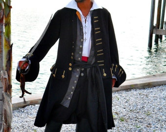 Men's Pirate Coat. Black Linen blend, fully lined.