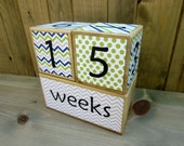 Baby age blocks - weeks, months, years, grade age blocks- baby shower gift - lime green, navy, gray - chevron, polka dots
