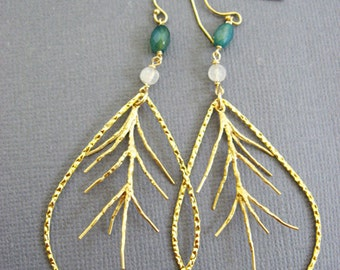 Large Gold hoop dangling earrings, thin gold hoop earings, tree branch jewelry, Large hoop earrings, nature lover