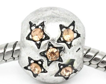 2 Pieces Antique Silver Star Carved Yellow Rhinestone European Charm Beads