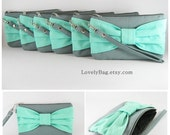 SUPER SALE - Set of 7 Gray with Mint Bow Clutches - Personalized Monogram Zipper Pull, Bridal Clutches, Bridesmaid Wristlet - Made To Order