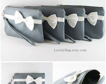 SUPER SALE - Set of 4 Bridesmaids Clutches, Wedding Clutches / Gray with Little Ivory Bow Clutches - Made To Order