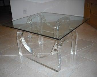 SUPER THICK Lucite M.C. Escher Geometric Coffee Table