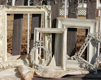 Distressed Picture Frames - Set Of 5  Rustic Picture Frames  -  Shabby Chic Frame Set