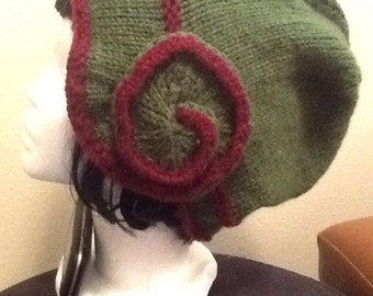 Burgundy and Forest Green Swirl Hat