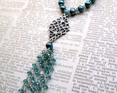 Teal pearl beaded tassel necklace by Cerise Jewelry