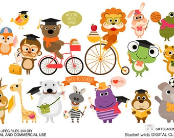 Student wild Digital clip art for Personal and Commercial use - INSTANT DOWNLOAD