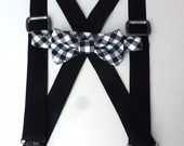 Boys Bow tie and Suspender Set/ Black Gingham Bow tie with Black suspenders