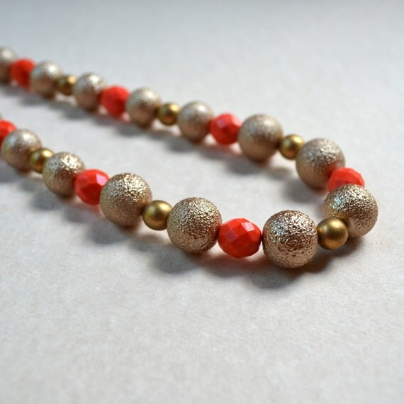 SALE Coral Matte Gold Necklace Beaded Orange Tangerine Statement Summer Fashion Jewelry Resort Cruise Toggle Clasp Free Shipping