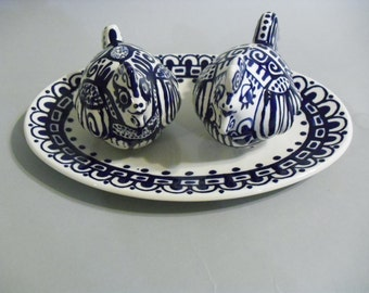 Blue and White Chicken Salt and Pepper Shakers with nest