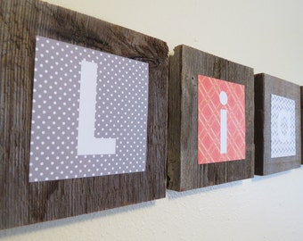 Nursery Name Blocks - Child Name Sign - Wall Art Baby Names - Wooden Letters For Nursery - Baby Name Letters Hanging in Oranges and Grays