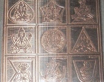 9 Planet Navgraha Pure Copper Yantra - Brahmana Energized - Navgrah - Shani