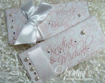 Wedding Bridal Shower Candy Bar Favors Blush Pink / Wrappers - with Pearls and Rhinestones - Vintage Wedding, Bridal Shower, Sweet Sixteen