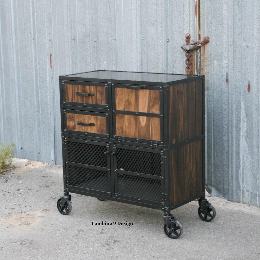 Industrial Bar Cabinet Industrial Salon Workstation Industrial Cart Modern Barber