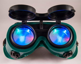Custom Steampunk LED Goggles Cyber Goth Rave Burning Man Green Frame LED Rave Wear, Electric Zoo Global Dance Festival Shambhala Overwatch