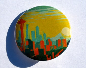 Seattle Skyline and Space Needle 1.25'' Pinback Button or Magnet | Washington pins | Pacific Northwest | Seahawks | PNW badge | space needle