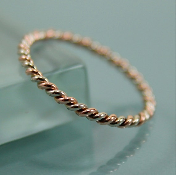 Two Tone 14k SOLID Gold Very Skinny Twisted Rope Infinity Band Stacking Ring Mixed Metals Rose Gold and White Gold Shiny Finish