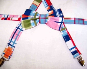 For The Little Guy Suspenders and bow tie set - Madras Boy's Bow Tie - pre-tied - Clip on - Ring Bearer